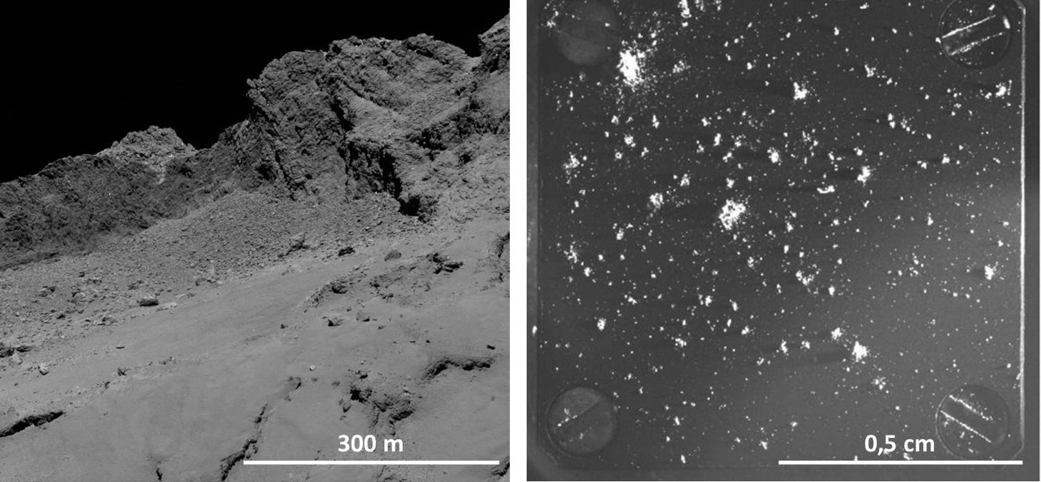 Surface du noyau cométaire vue par la sonde Rosetta
