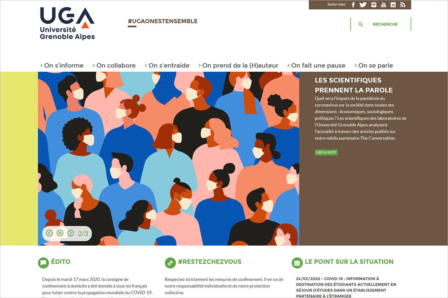 """La page d'accueil du site web """"UGAOnEstEnsemble"""""""