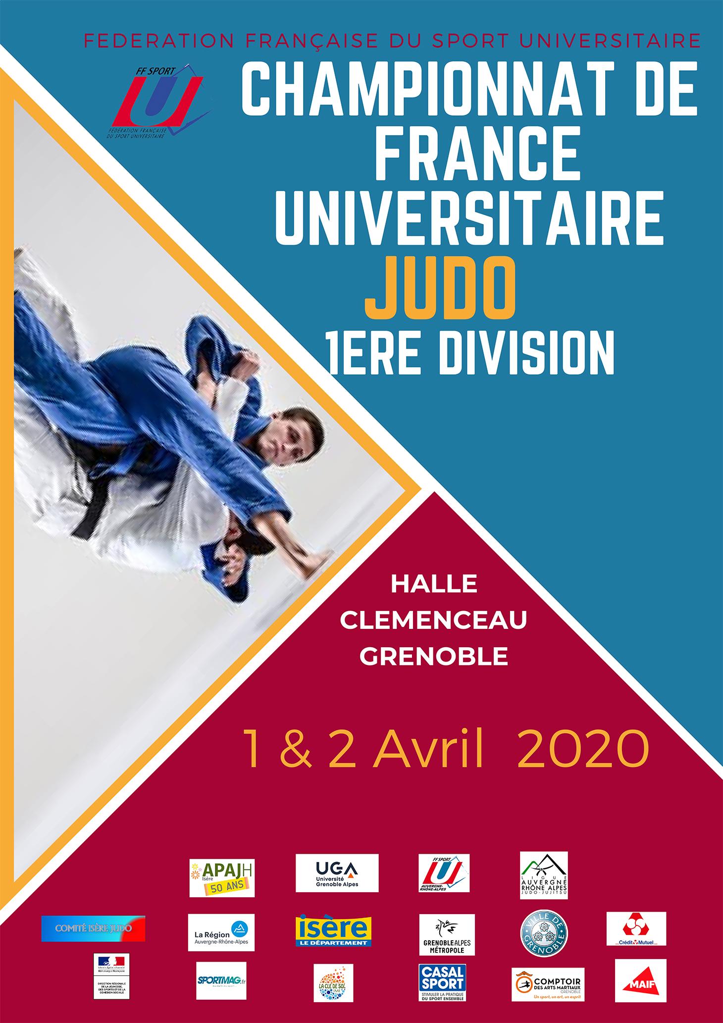 Affiche du championnat de France universitaire de Judo 2020