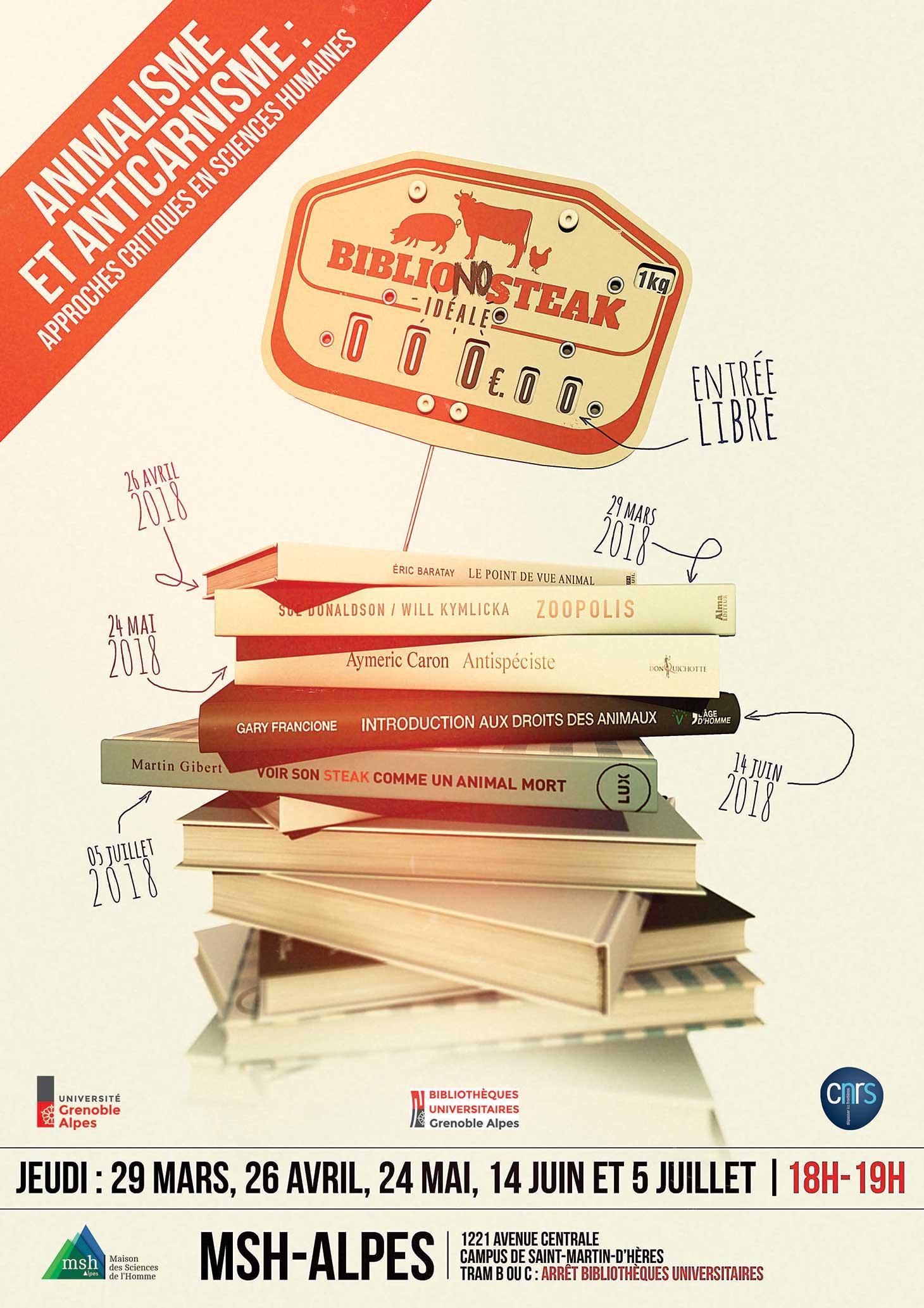 Affiche du cycle de conférences BiblioNoSteak Idéale