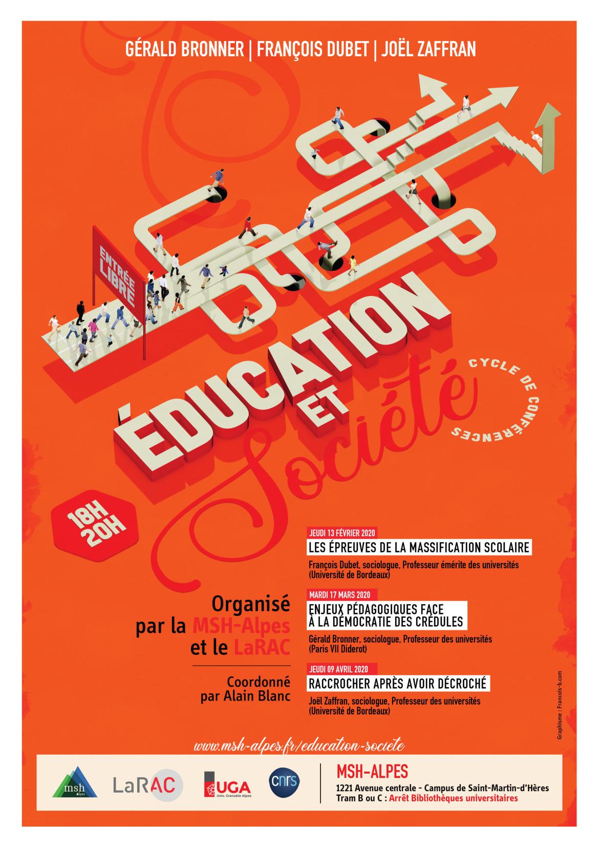 """Affiche du cycle de conférences """"Éducation et société"""""""