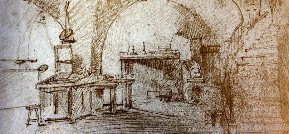 Le laboratoire de Louis Daguerre où fut mis au point le procédé du daguerréotype, rue des Marais-du-Temple à Paris, dessiné par Charles-Marie Bouton, son associé, vers 1824. © Georges Eastman House, Rochester, NY