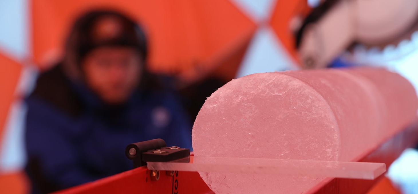 Les scientifiques découpent les carottes de glace © Sarah Del Ben / Wild Touch / Fondation UGA