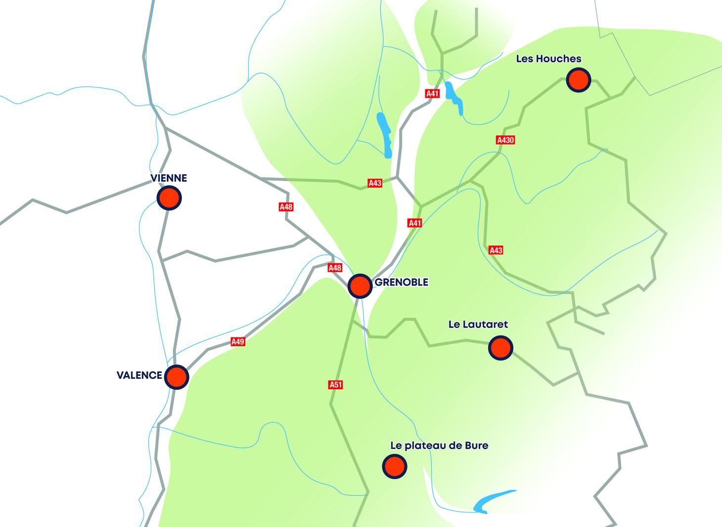 Carte géographique des campus de l'Université Grenoble Alpes