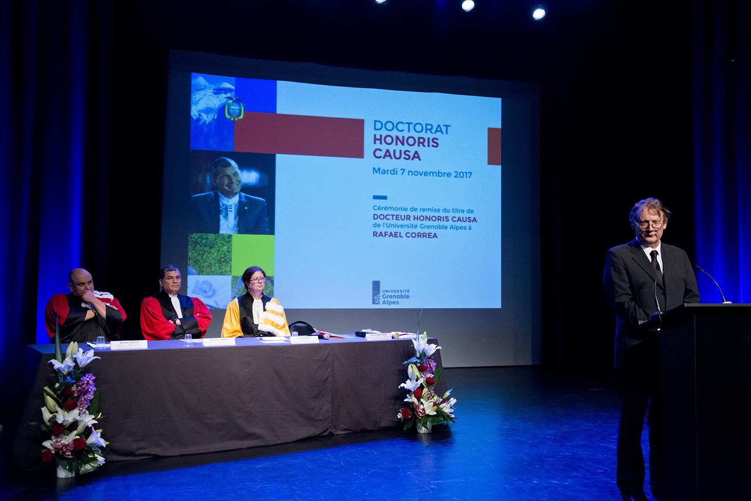 Ouverture de la cérémonie par Pierre Berthaud, maître de conférences en économie à l'UGA