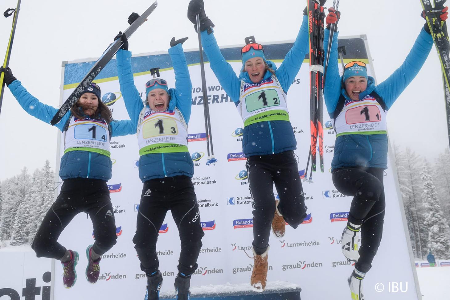 Le relais féminin tricolore de biathlon décroche l'or aux championnats du monde junior 2019-2020 © IBU