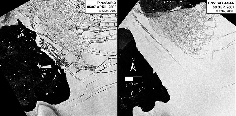Démantèlement du pont de glace qui supportait la plateforme Wilkins. InageImage satellite ENVISAT-ASAR (© ESA) et TerraSAR-X (© DLR). Compilation : Melanie Rankl, Institute of geography - CP LGGE Gaël Durand 2016