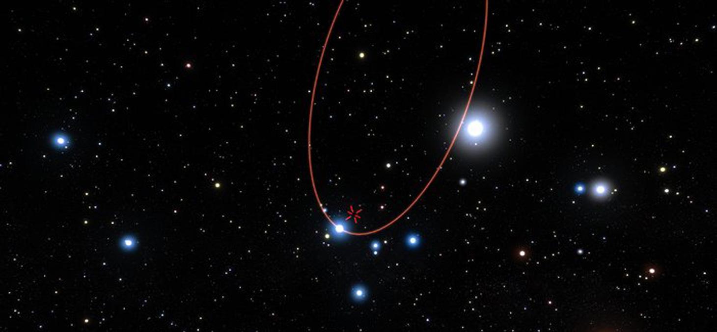 Des étoiles en orbites autour du trou noir supermassif situé au centre de la Voie Lactée. En 2018, l'une de ces étoiles, S2, cheminera à très grande proximité du trou noir. Crédit: ESO/L. Calçada