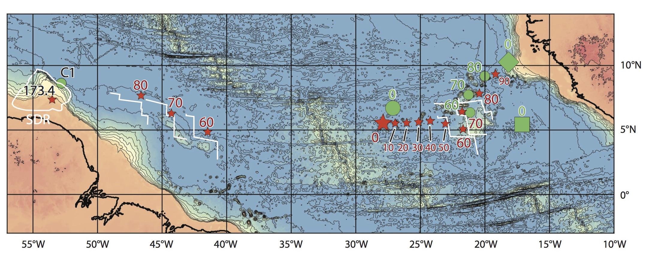 Trace du point chaud de Sierra Leone dans l'Atlantique équatorial, entre l'Afrique et l'Amérique du Sud