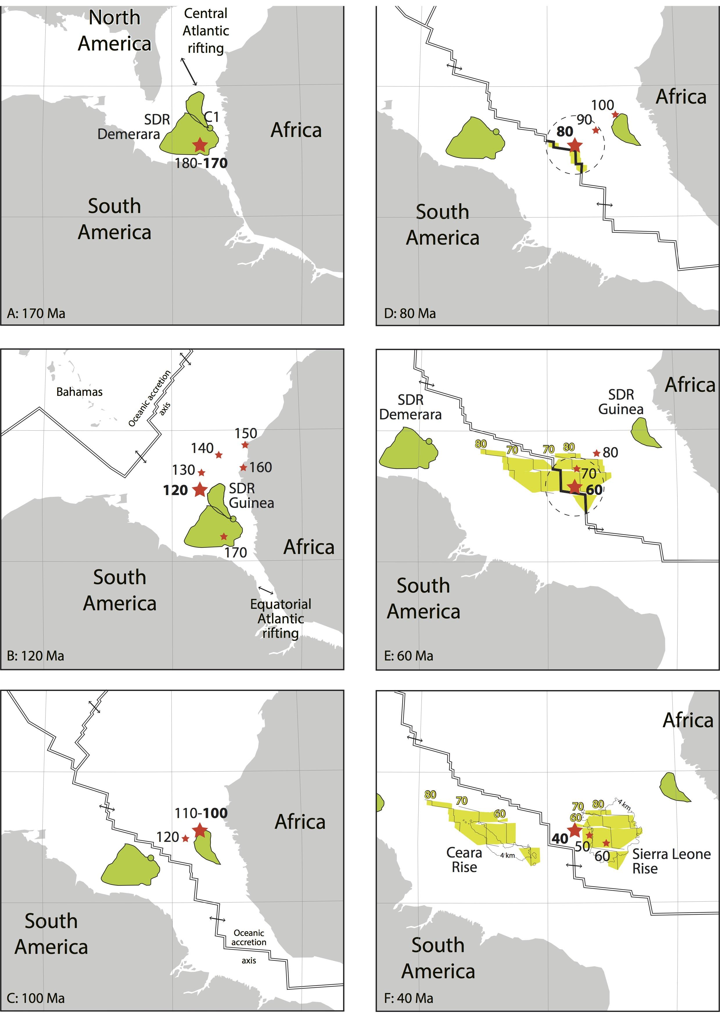 Reconstitution paléogéographique de la position du point chaud de Sierra Leone de 170 à 40 Ma