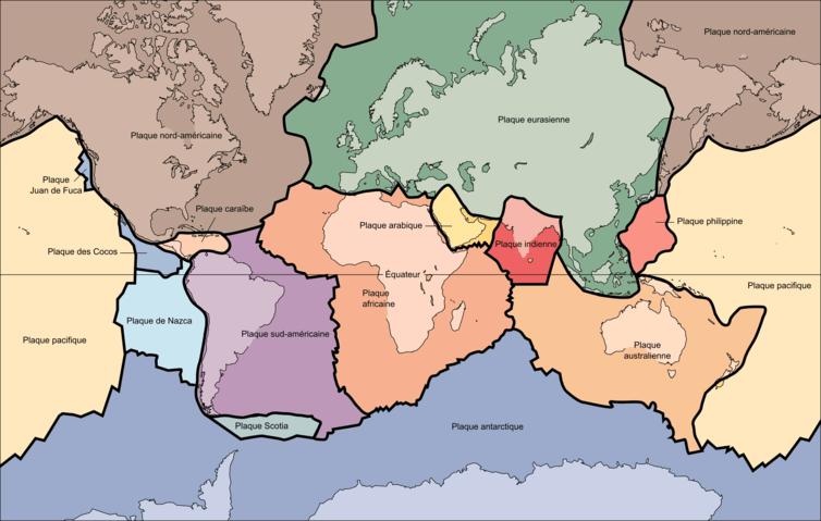 Les plaques tectoniques © USGS / Wikipédia