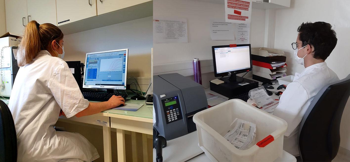 Internes en biologie médicale devant un poste PCR et lors de l'enregistrement des prélèvements Covid.