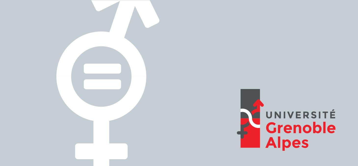 """Logo de la mission """"Égalité femmes / hommes"""" de l'Université Grenoble Alpes"""