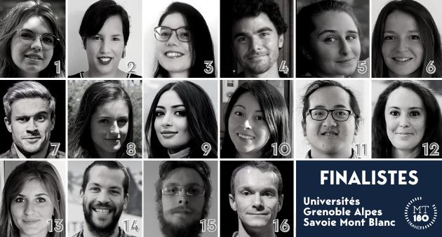 Portraits des 16 finalistes MT180 Universités Grenoble Alpes Savoie Mont Blanc