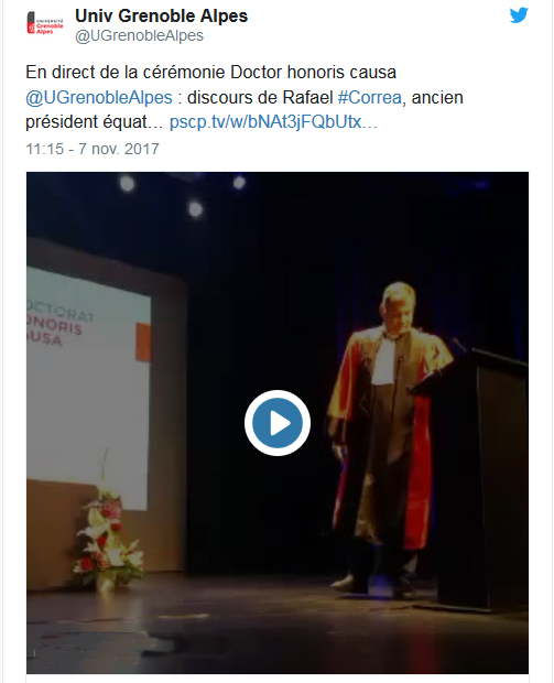 Discours de Rafael Correa, Docteur Honoris Causa de l'UGA