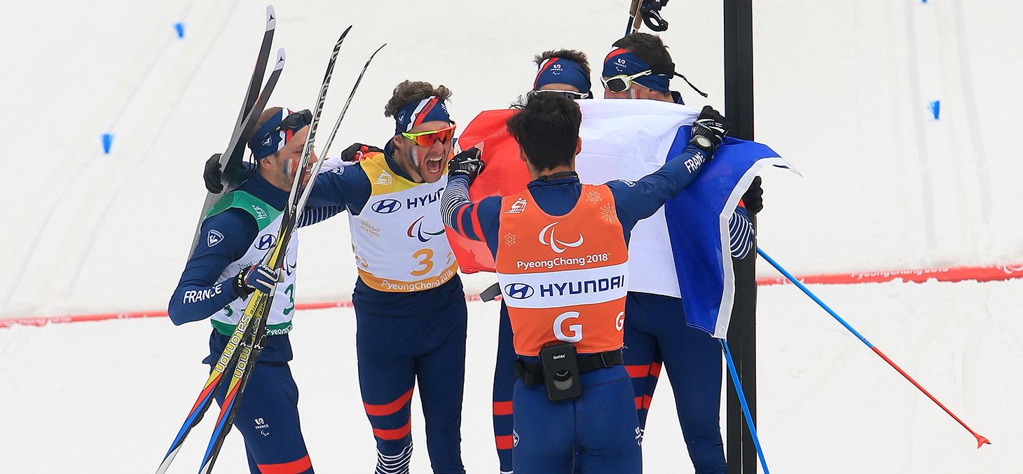 L'équipe de France paralympique décroche l'or du relais 4 x 2,5 km aux Jeux de PyeongChang © CPSF 2018 - G. Pecoud