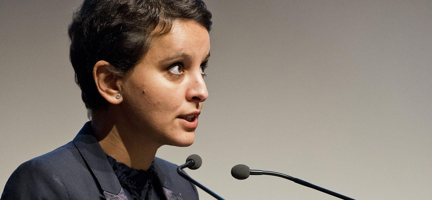Najat Vallaud-Belkacem lors de la visite du 25 mars 2016