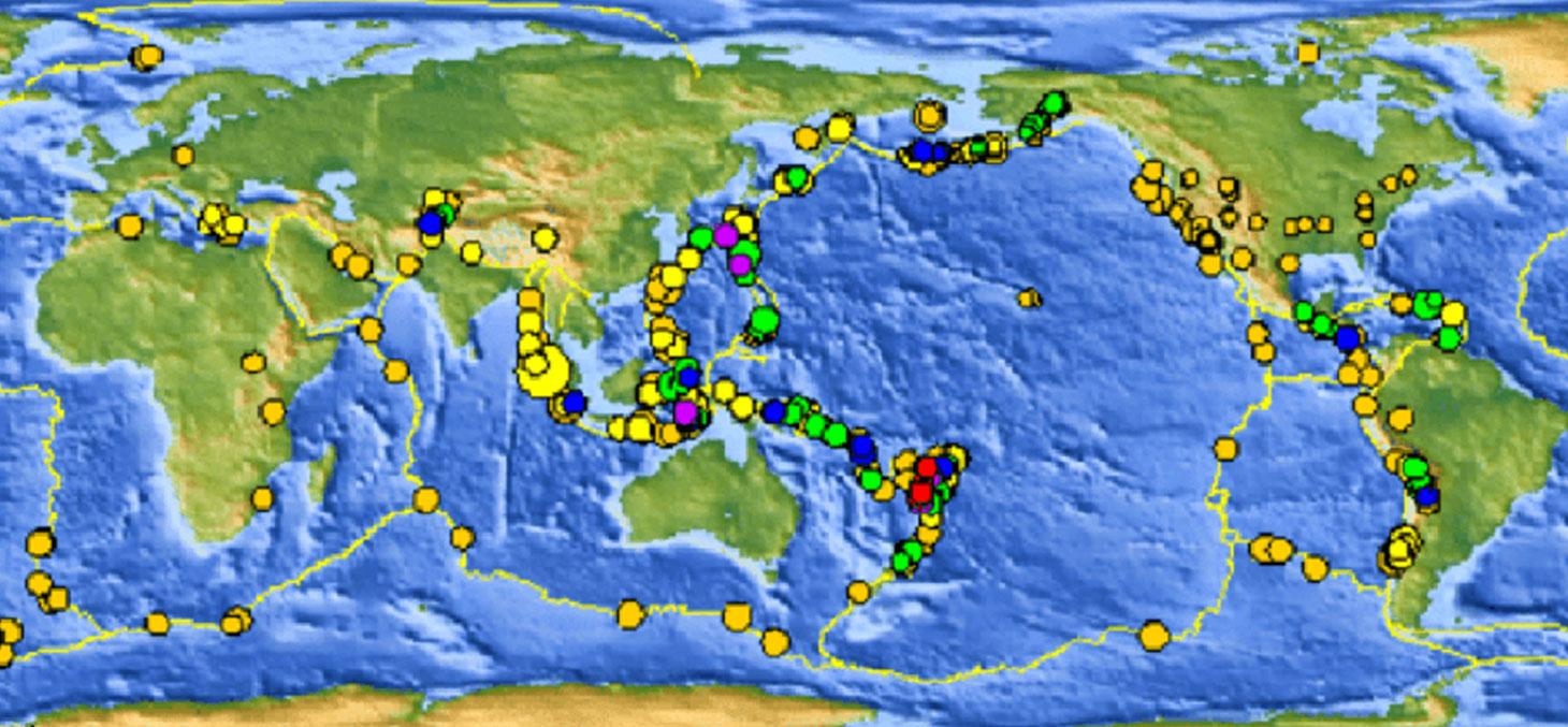 Evénements sismiques sur une courte période 8-30 jours, carte de 2010. © USGS / Wikipédia